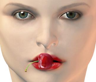 Frau Erotik, Kuss küssen, Gesicht Mund mit Kirsche