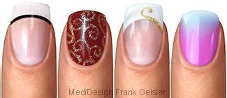 Nagel Fingernagel, Nageldesign der Nägel Fingernägel